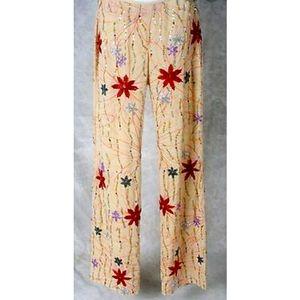 Naeem Khan Silk Beaded Floral Runway Pants
